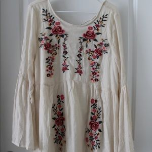 Vici embroidered floral tunic dress
